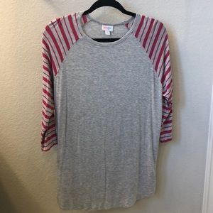 Lularoe XL Randy with cute pink striped sleeves